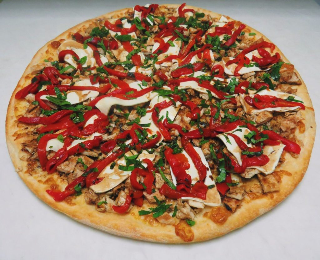 Cardinal Pizza (Grilled Chicken Fresh Mozzarella & Roasted Red Peppers)